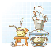 Cooking saucepans. In the kitchen - three cheerful saucepans cooking Royalty Free Stock Photos