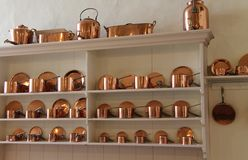 Cooking Saucepans. A Beautiful Collection of Copper Cooking Saucepans Stock Photography