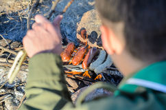 Cooking Sausages on Stick over Campfire Stock Images