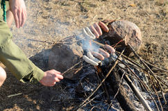 Cooking Sausages on Sticks over Campfire Stock Photos