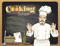 Cooking school chalkboard design with chef cook. Stock Images
