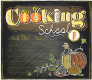 Cooking school chalkboard with place for text. Royalty Free Stock Photos