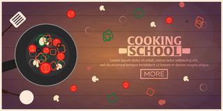 Cooking school, courses. Culinary class illustration. stock illustration