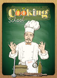 Cooking school design with chef cook against chalkboard. Royalty Free Stock Photos