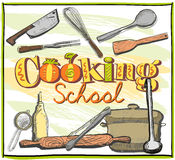 Cooking school graphic with utensils. Royalty Free Stock Image