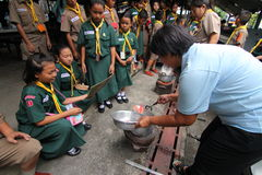 Cooking Scout activities Stock Images
