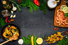 Cooking Seafood on Copy Space Frame Stock Photo