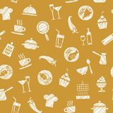 Cooking, seamless pattern, brown, vector. Dishes and food. Hatching with white pencil on mustard field. Imitation. Vector pattern Stock Photography