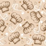 Cooking seamless pattern with chef hat Royalty Free Stock Photo
