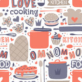 Cooking seamless pattern retro style with kitchen and baking items vector. Stock Image