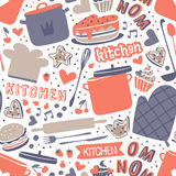 Cooking seamless pattern retro style with kitchen and baking items vector. Royalty Free Stock Photography