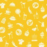 Cooking, seamless pattern, yellow, vector. Dishes and food. Hatching with a white pencil on the yellow field. Imitation. Vector pattern Royalty Free Stock Photography