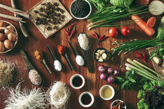 Cooking and seasoning ingredients Royalty Free Stock Images