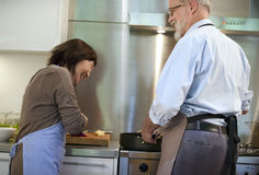 Cooking Senior Couple Togetherness Concept Stock Photography