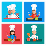 Cooking serve meals and food preparation elements Stock Photos