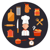Cooking serve meals and food preparation elements Royalty Free Stock Photography