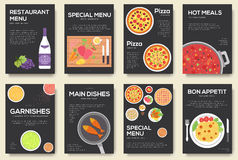 Cooking set cards with menu vector background. Cooking menu banner design. Concept Royalty Free Stock Images