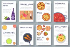 Cooking set cards with menu vector background. Cooking menu banner design concept. Cooking set cards with menu vector background. Cooking menu banner design Stock Images