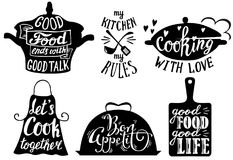 Cuisine short phrases and quotes, vector hand drawn illustration. Cooking set with kitchen utensils and cuisine short phrases and quotes. Vector vintage hand vector illustration
