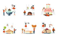 Set of oversize dish and mini people vector illustration