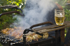 Cooking shashlik on grill Royalty Free Stock Images