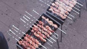 Cooking shashlik stock footage