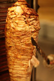 Cooking of shawarma. In the greek restaurant stock photos