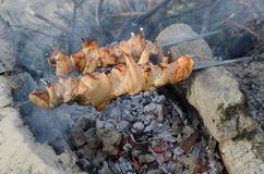 Cooking shish kebab barbecue on the grill Stock Photography