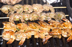 Cooking shrimp on the grill Royalty Free Stock Image
