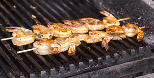 Cooking shrimp on the grill Royalty Free Stock Photography