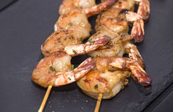 Cooking shrimp on the grill Royalty Free Stock Photo