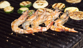 Cooking shrimp kebabs on the grill Stock Images