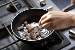 Cooking shrimp in a pan Royalty Free Stock Photo