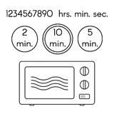 Cooking signs, for manuals on packing. Preparing microwave instruction icons set. Royalty Free Stock Photos