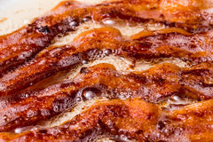 Bacon frying on the stove. Cooking smoked bacon on stove top in skillet Royalty Free Stock Photos