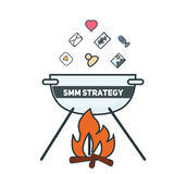 Cooking social media marketing strategy conceptual illustration. Royalty Free Stock Photo