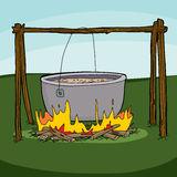 Cooking Soup in Campfire Royalty Free Stock Photos