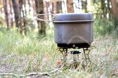 Cooking soup in hike. Time, summer day stock image