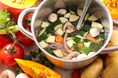 Cooking soup ingredient. Close up on cooking soup ingredient stock photo