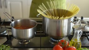 Cooking spaghetti stock video footage