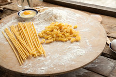 Cooking spaghetti and macaroni at home. Stock Image