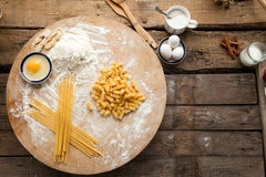 Cooking spaghetti and macaroni at home. Stock Images