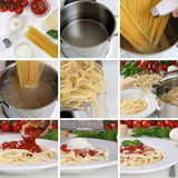 Cooking spaghetti noodles pasta with tomato sauce and basil step Stock Image