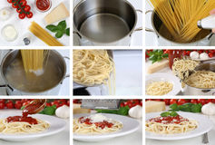 Cooking spaghetti noodles pasta with tomato sauce: step by step Royalty Free Stock Photo