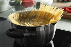 Cooking spaghetti in pot on stove. Cooking spaghetti in pot on electric stove royalty free stock image