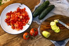 Cooking Spanish gazpacho. Preparing typical cold tomato soup from Spain royalty free stock photo