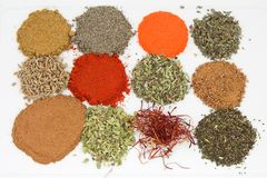 Cooking spices. Of different textures and flavors Royalty Free Stock Photography