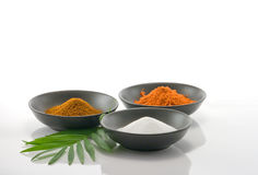 Cooking Spices. In black bowls on white background with leaf Stock Image