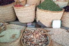 Cooking spices in baskets on sale Royalty Free Stock Photo