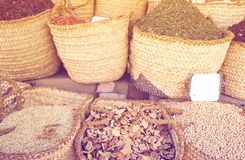 Cooking spices in baskets on sale Royalty Free Stock Photos